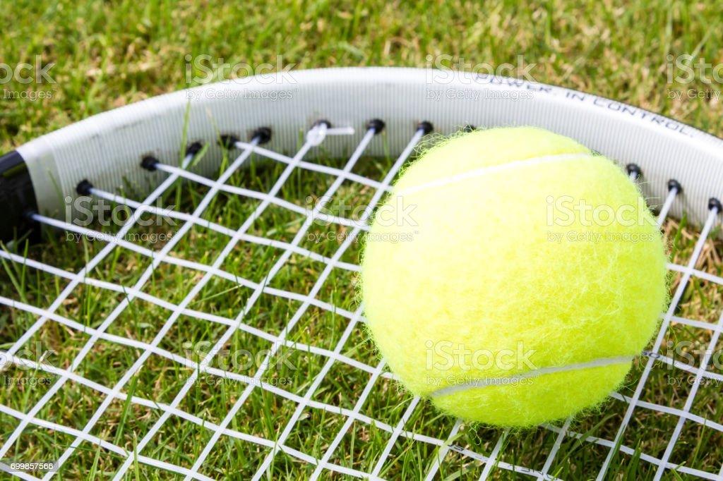 Tennis racquet and ball stock photo