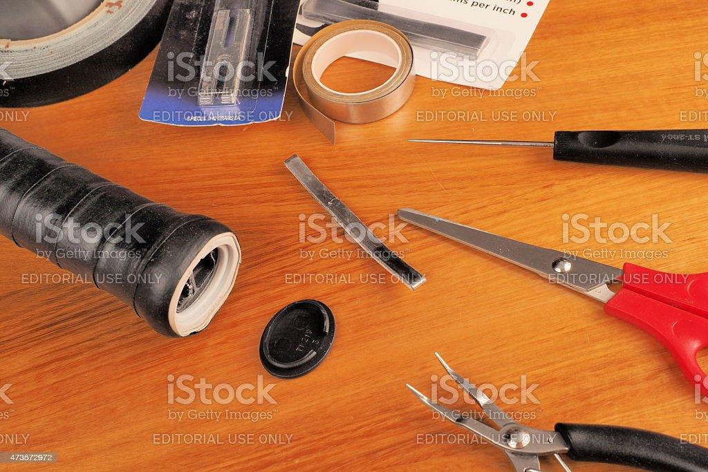 Tennis racquet handle prepared for lead installation stock photo