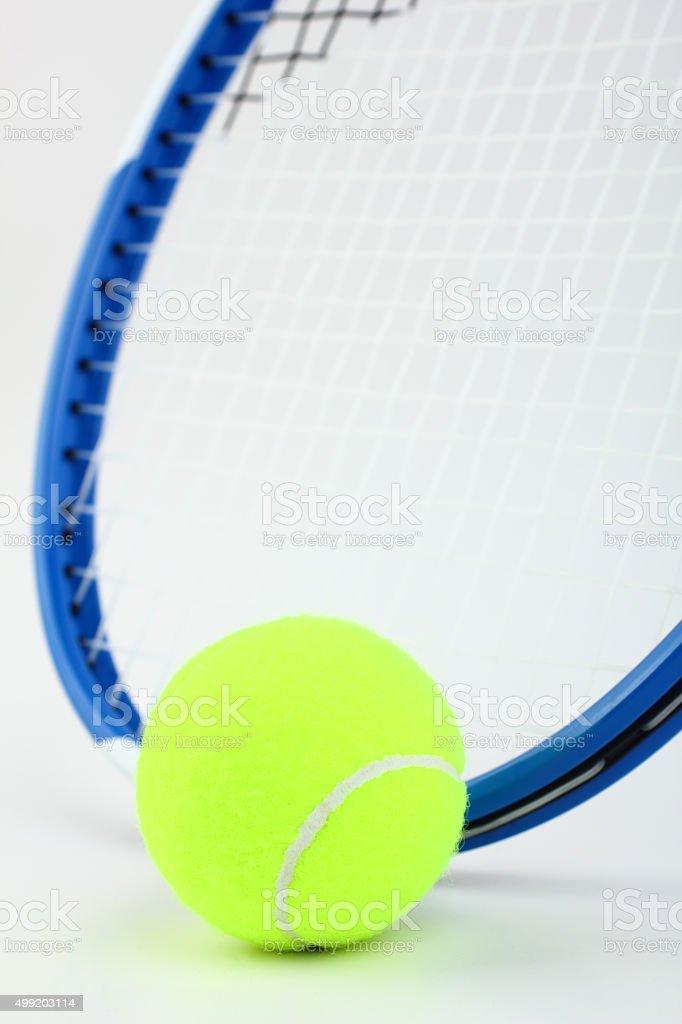 Tennis rocket and ball stock photo