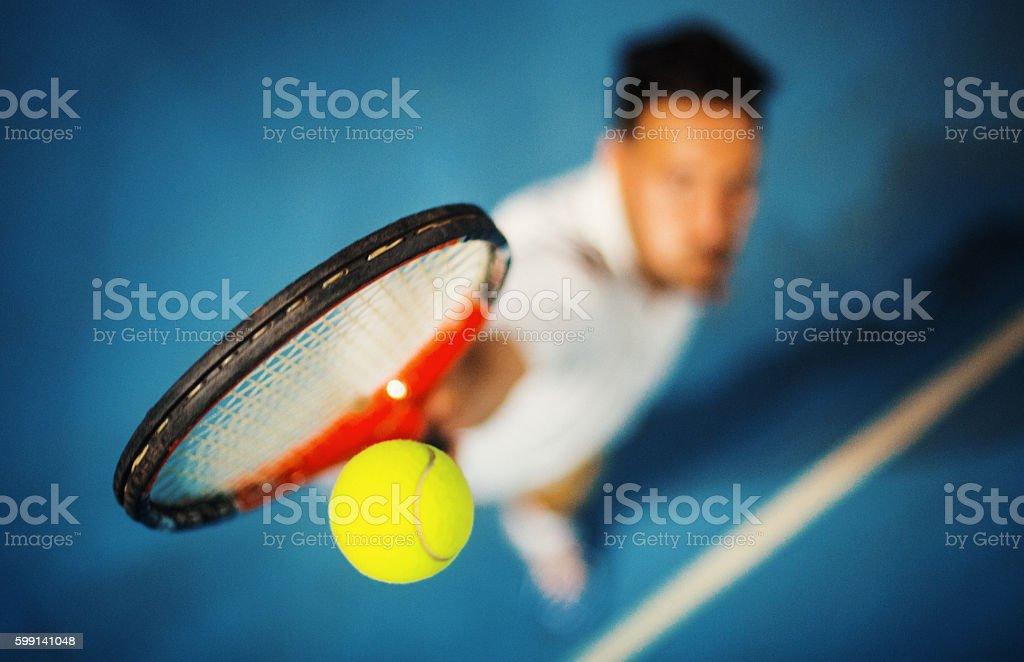 Tennis serve. stock photo