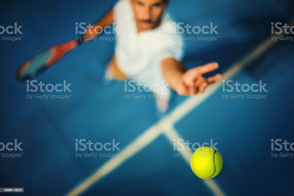 Tennis serve. stock photo