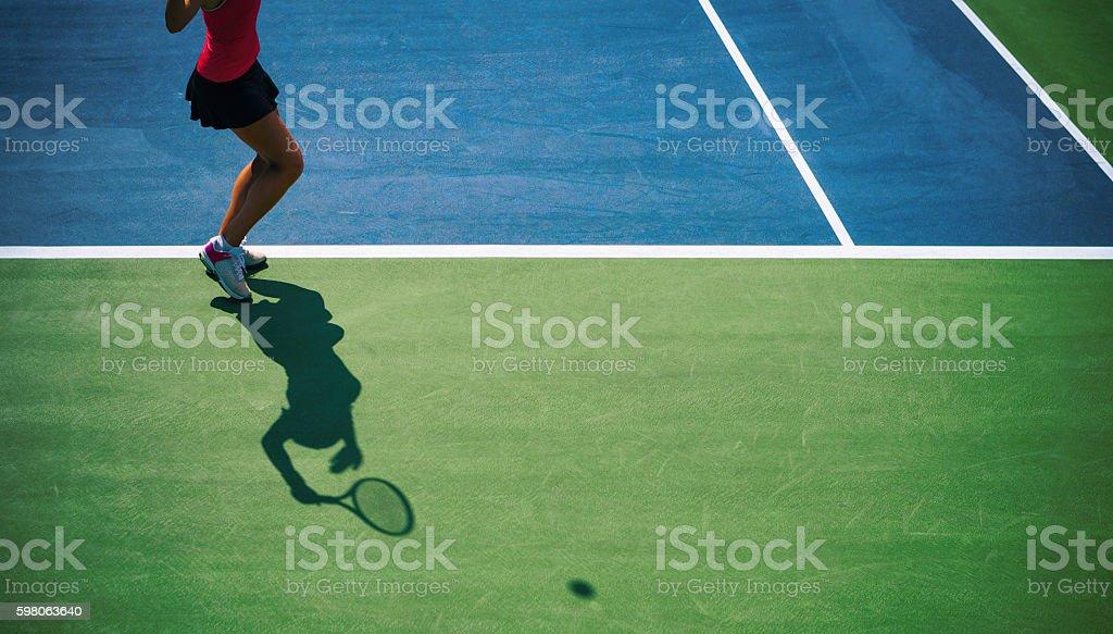 Tennis serve silhouette stock photo