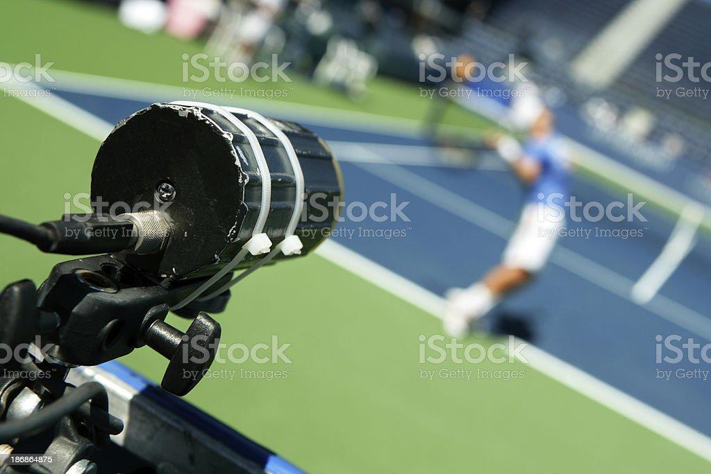 Tennis serve speed gun stock photo