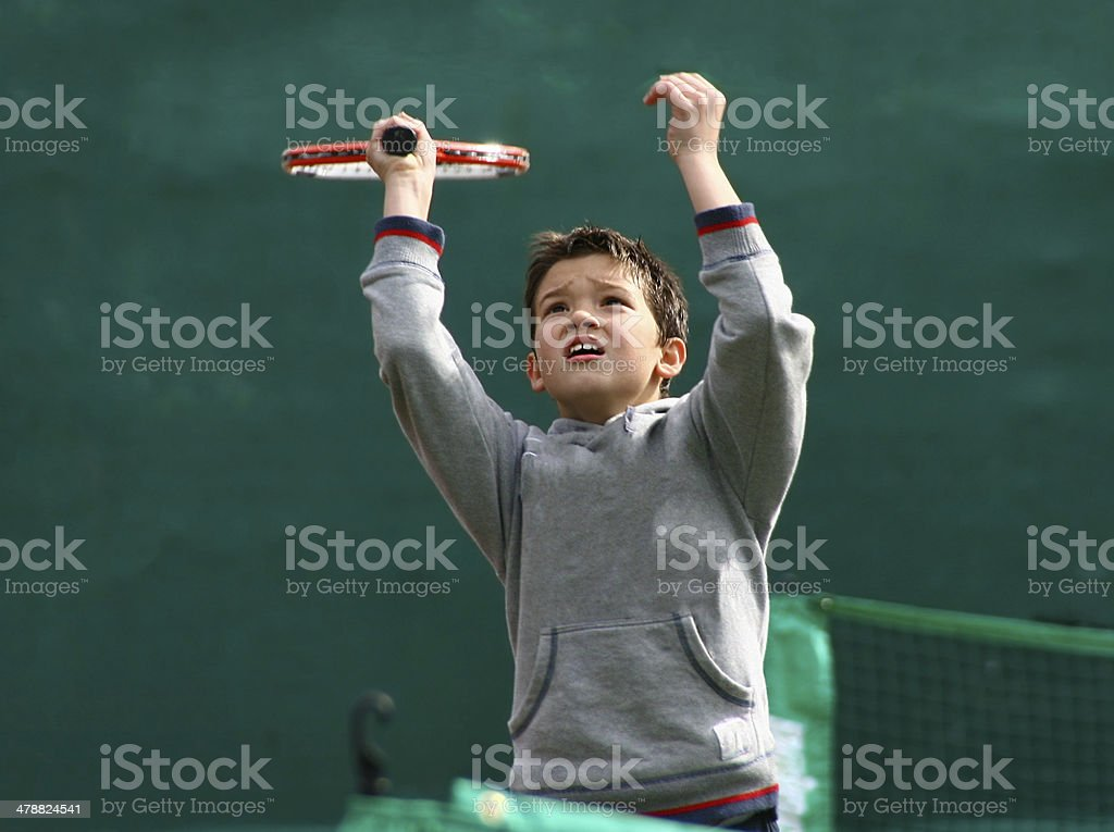 Tennis service lessons stock photo