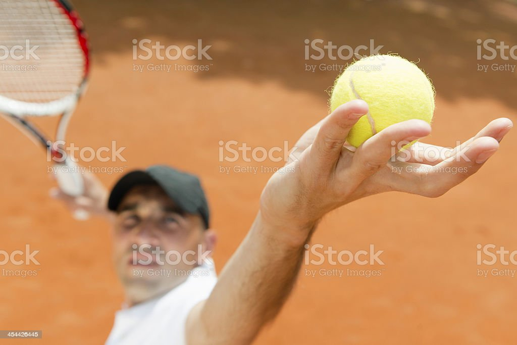 Tennis service royalty-free stock photo