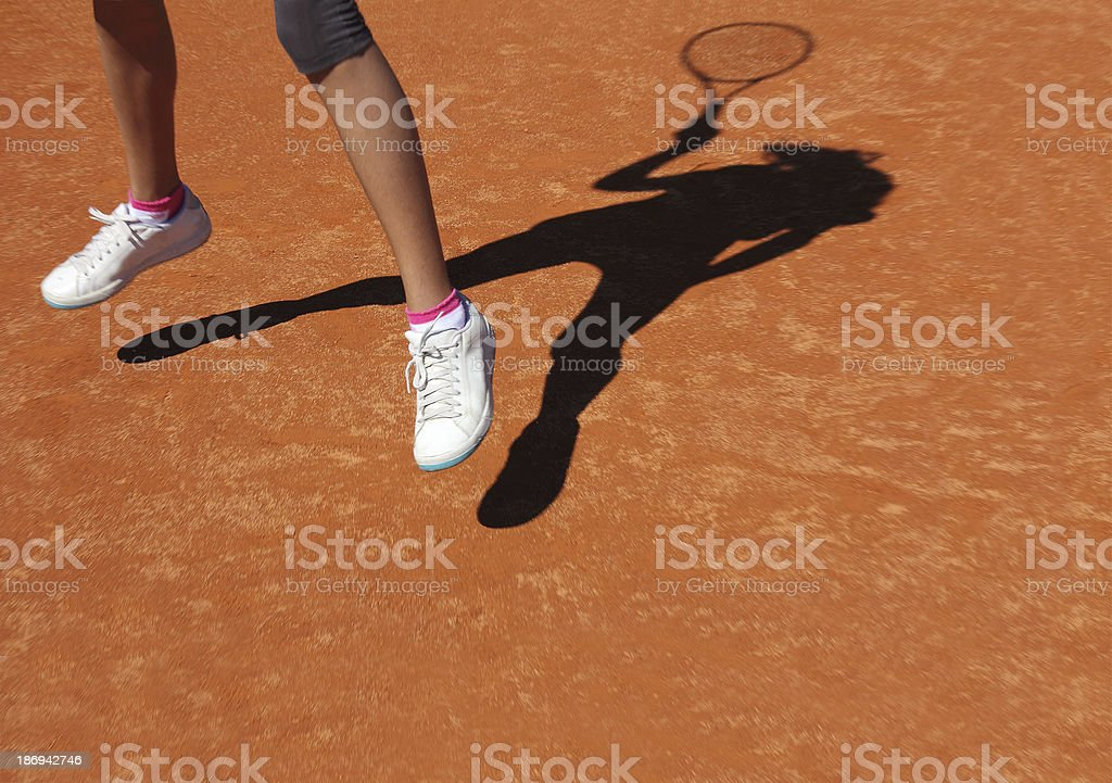 Tennis shadow royalty-free stock photo