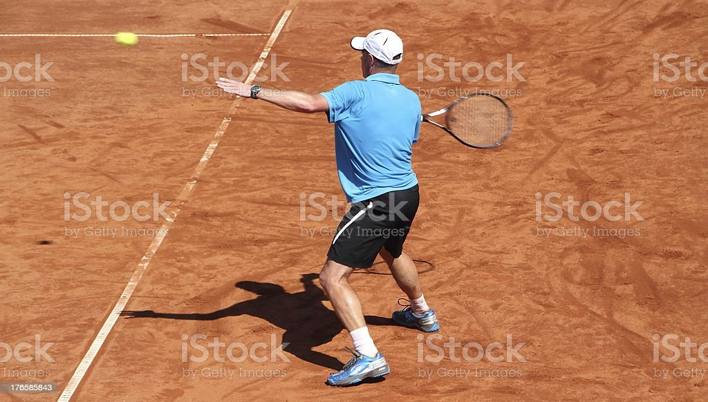 tennisplayer catching the ball royalty-free stock photo