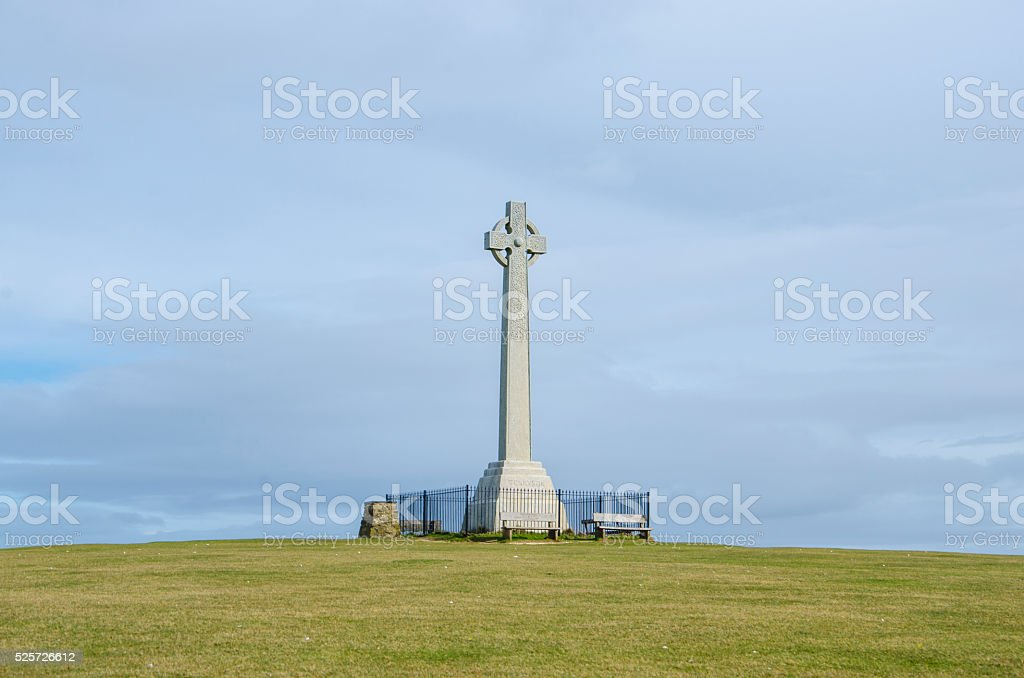 Tennyson's Monument from Freshwater Bay on the Isle of Wight stock photo