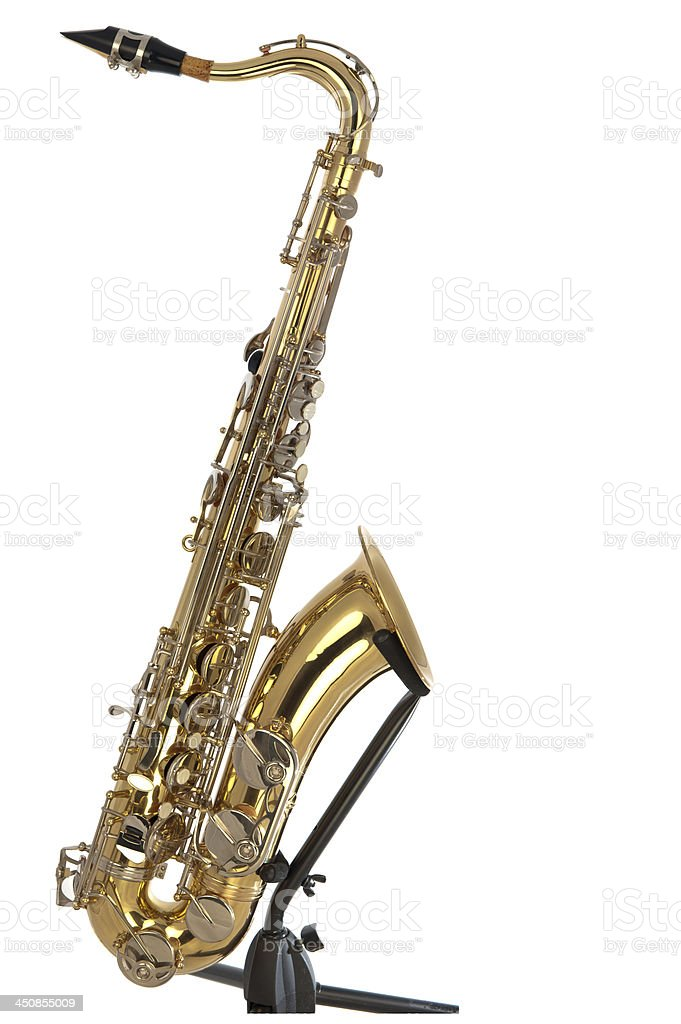 Tenor sax in boxed puzzle stock photo