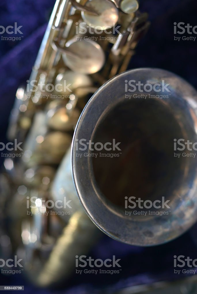 tenor sax with shallow depth of field stock photo