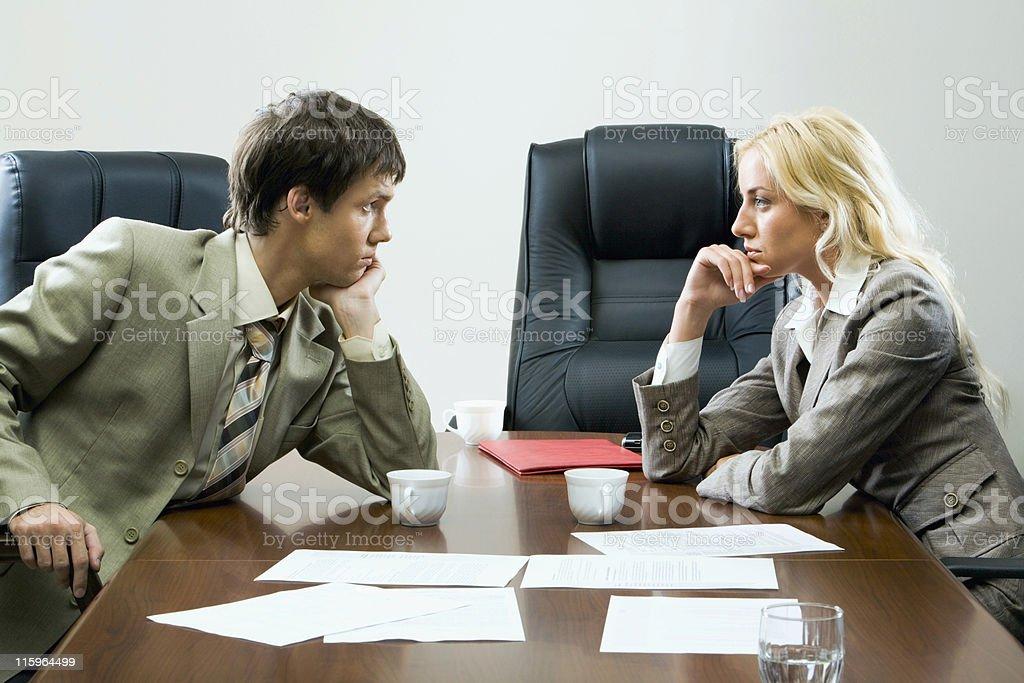 Tense negotiations royalty-free stock photo