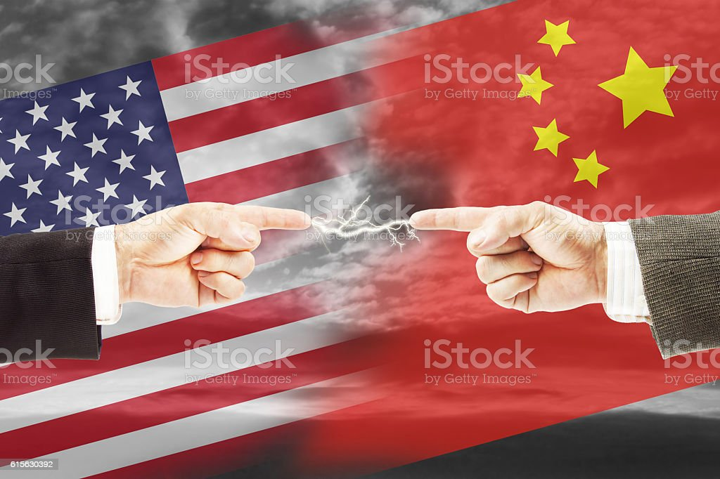 Tense relations between United States and China stock photo