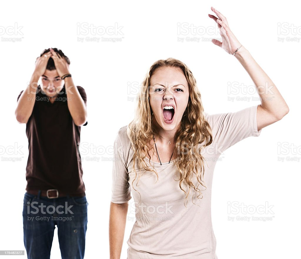 Tense young couple gesture emotionally stock photo