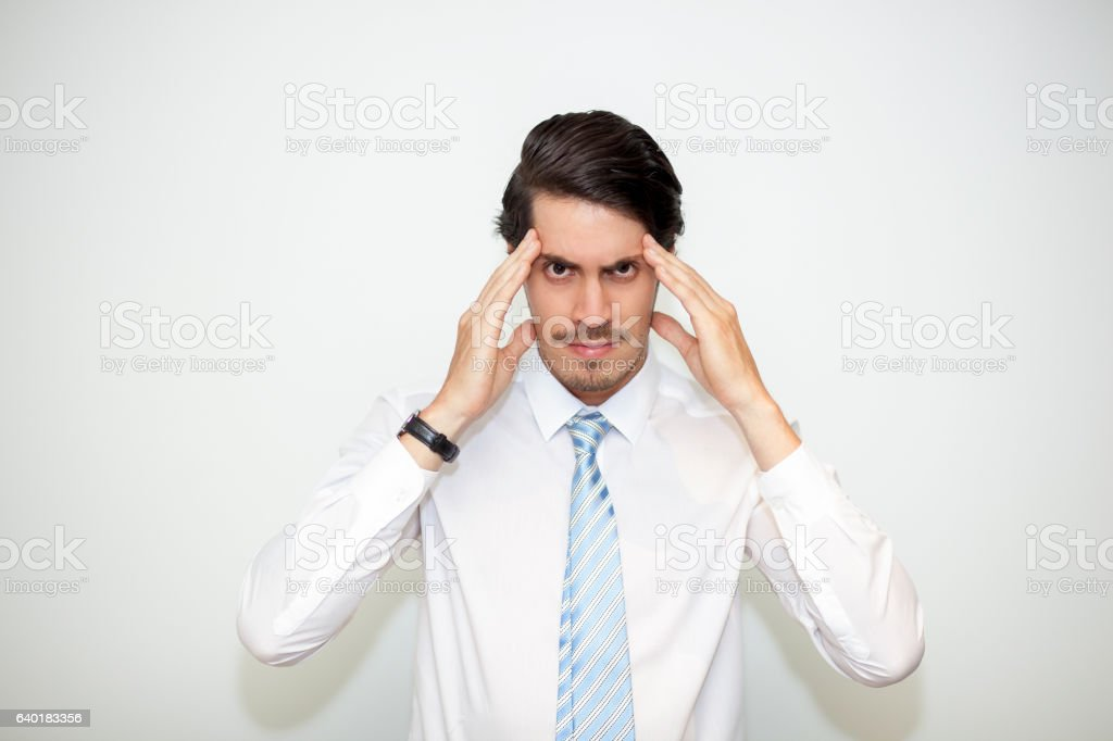 Tensed Middle-aged Business Man Touching Temples stock photo