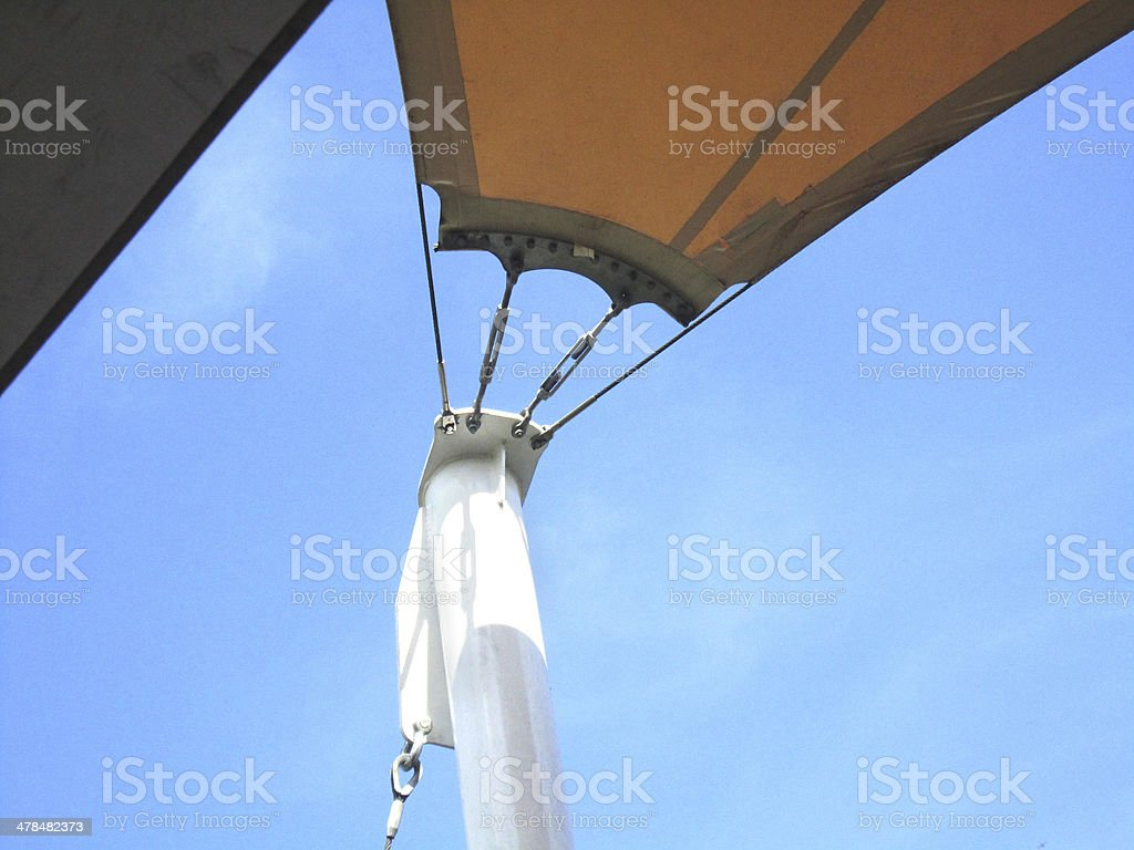 tensile exterior roof structure detail stock photo