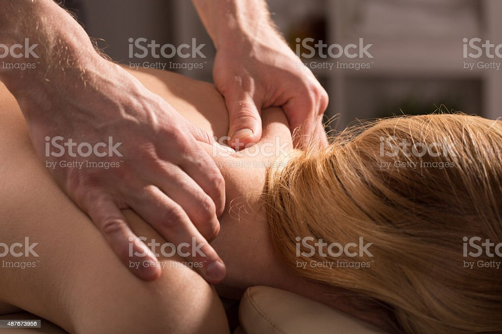 Tension and pain mitigation stock photo