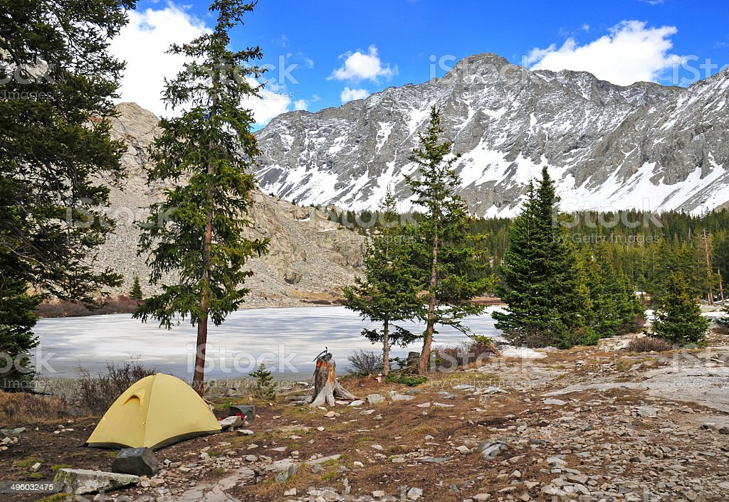 Tent and Campsite, in the Rocky Mountains, USA stock photo