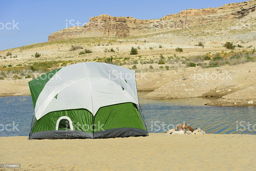 Tent and Fire royalty-free stock photo