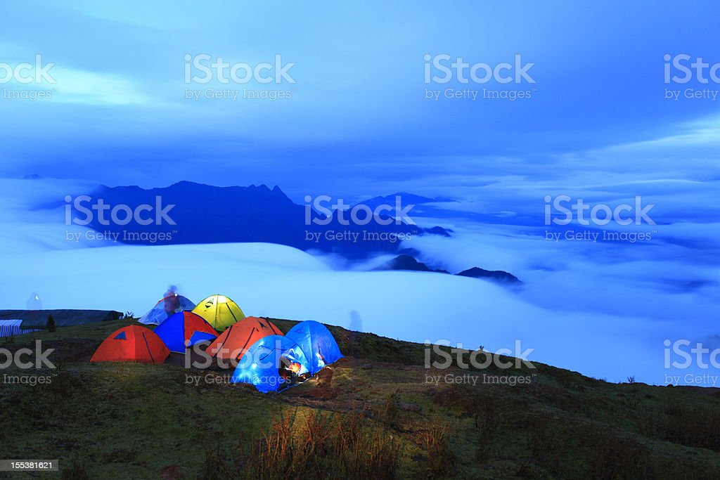 Tent at night in the mountains royalty-free stock photo