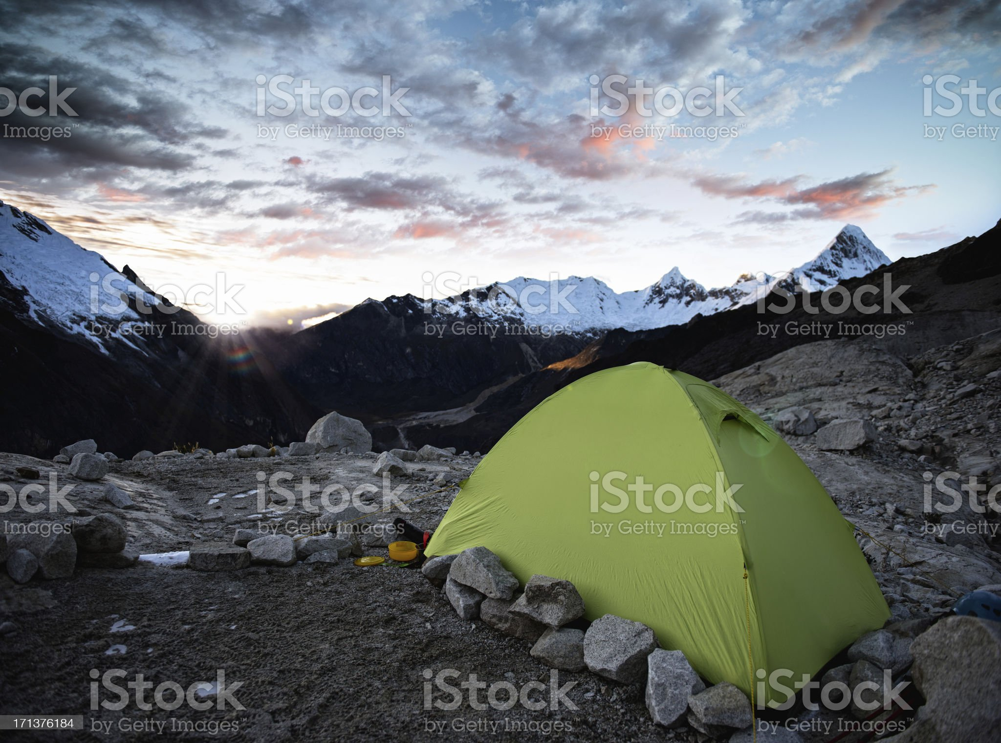tent at sunrise high in the mountains royalty-free stock photo