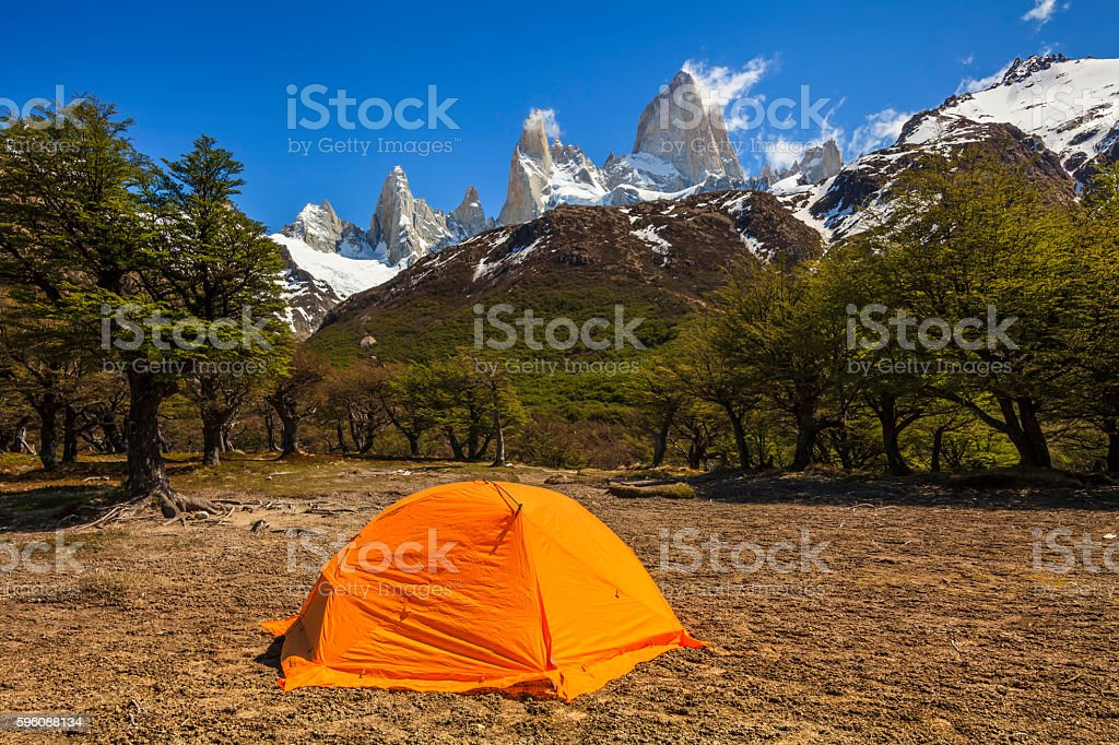 Tent at the Mount Fitz Roy.Los Glaciares National Park,  Patagon stock photo