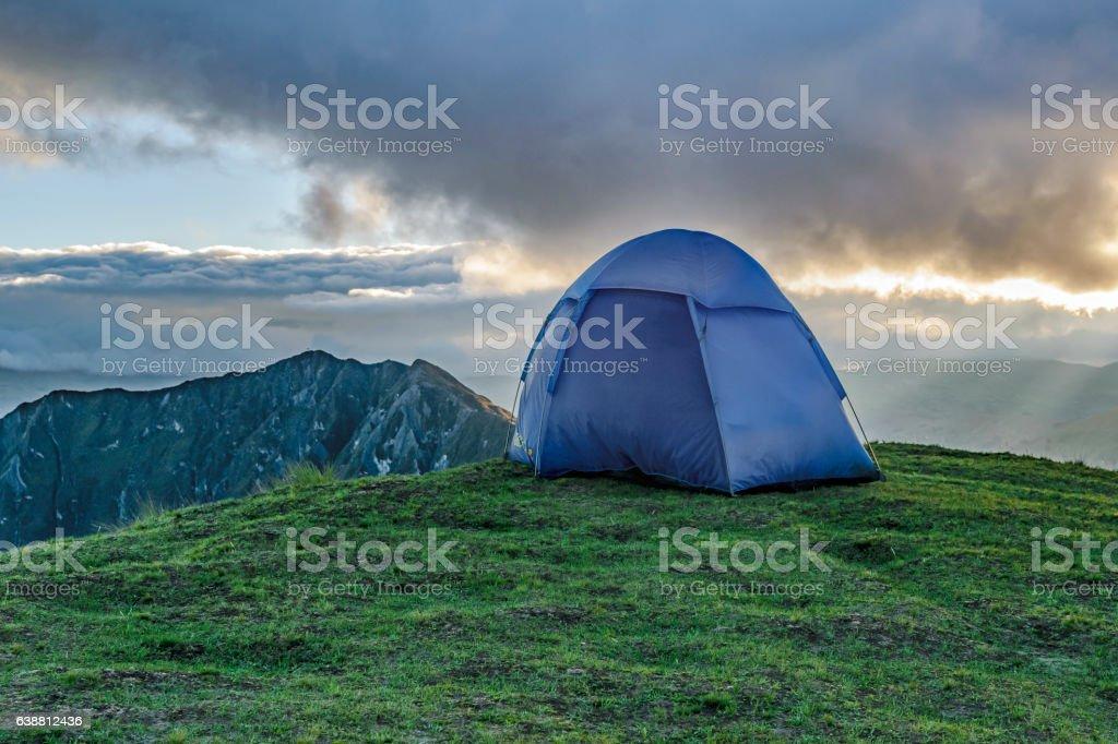 Tent at Top of Mountain, Quilotoa, Ecuador stock photo
