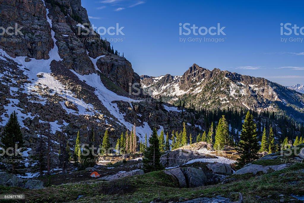Tent Below Mountains stock photo