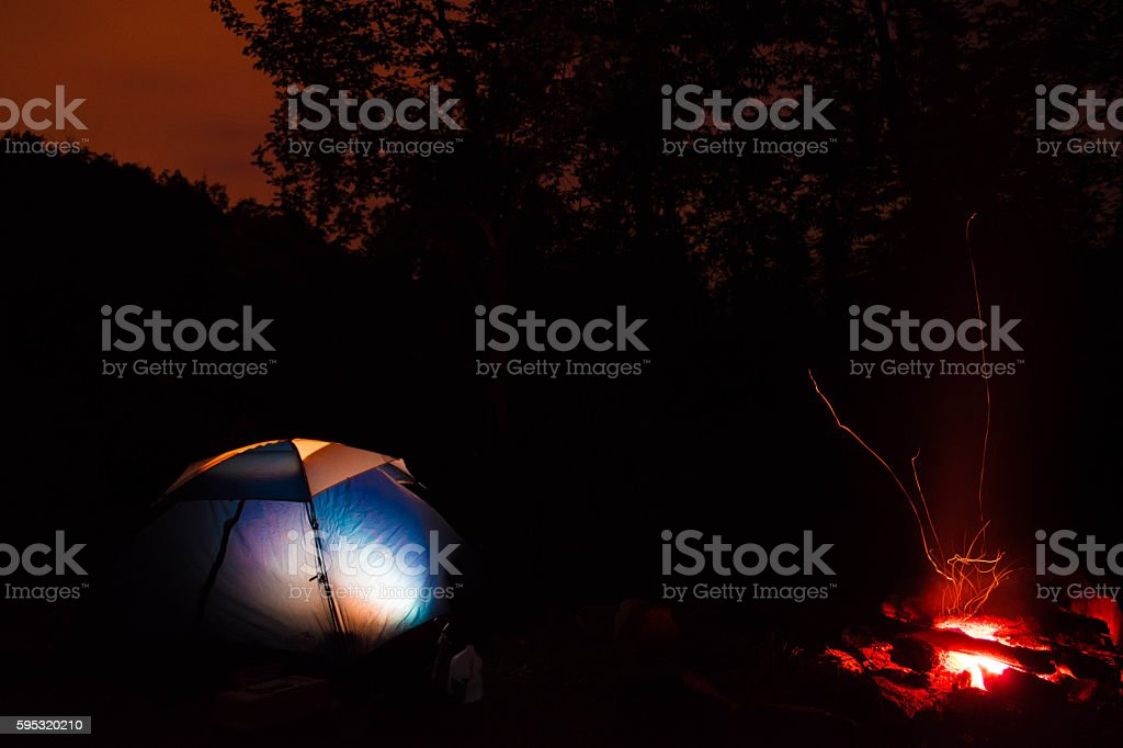 Tent by the campfire royalty-free stock photo
