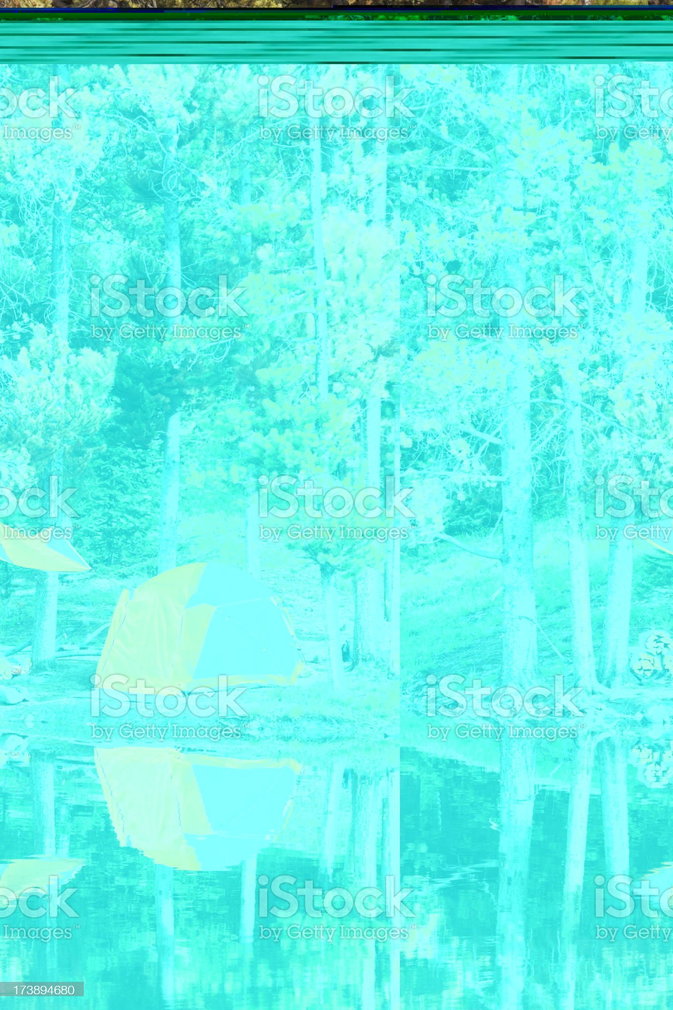 Tent Camp Lake Reflection Tranquil Forest royalty-free stock photo