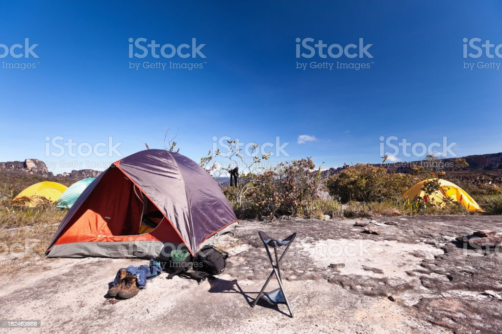 Tent camp on the rocks royalty-free stock photo