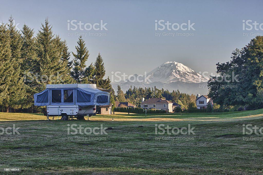 Tent Camper In a Neighborhood Back Yard stock photo