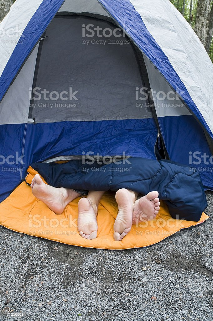 Tent feet stock photo