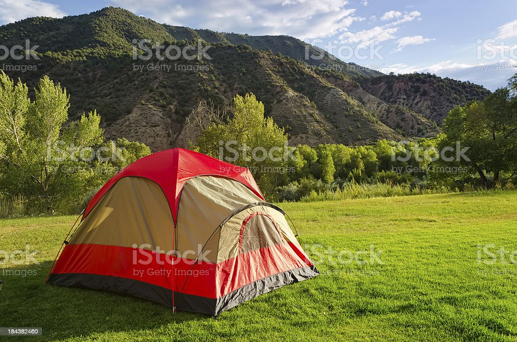 Tent in Backyard Summer Camping royalty-free stock photo