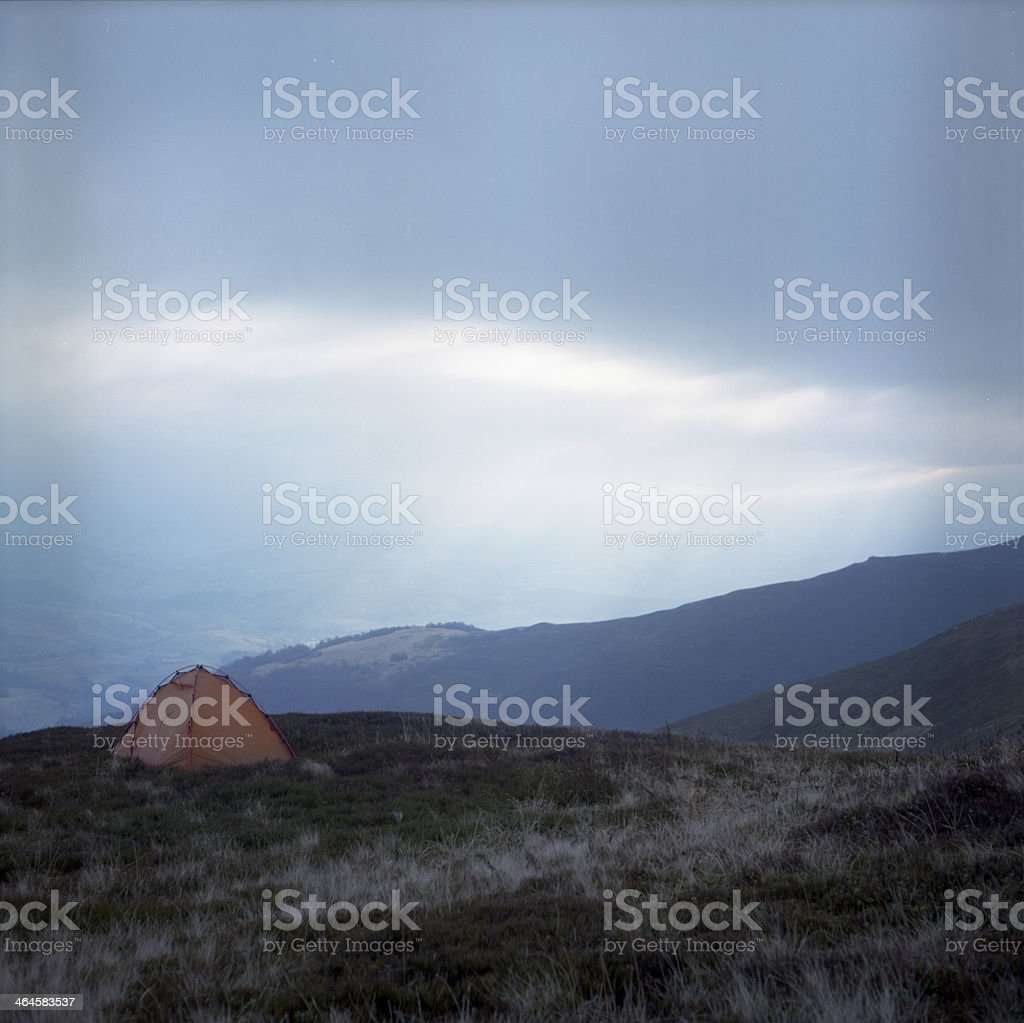 Tent in carpathan mountains royalty-free stock photo