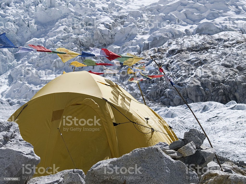 Tent in Everest Base Camp stock photo