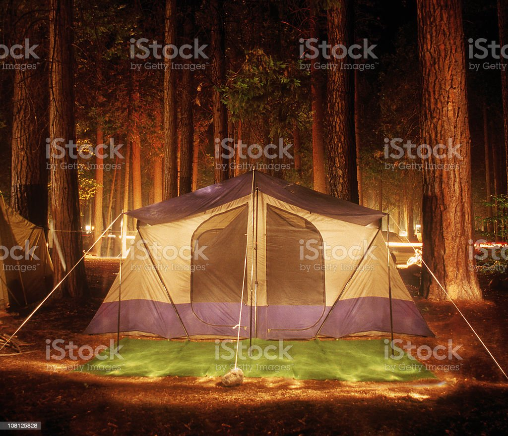 Tent in Forest at Night royalty-free stock photo
