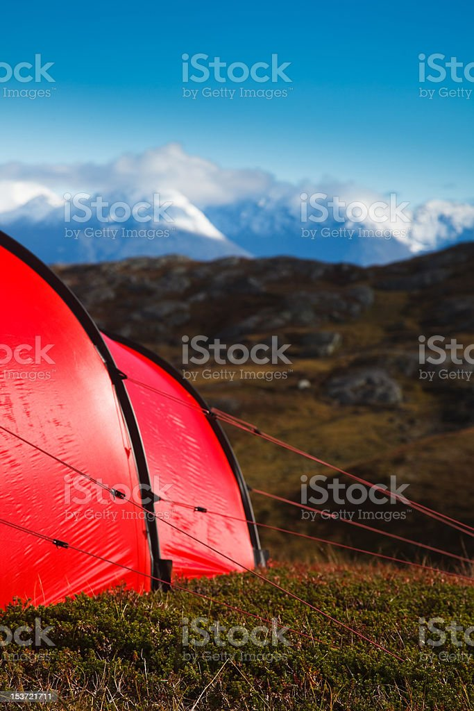Tent in mountaineous terrain royalty-free stock photo