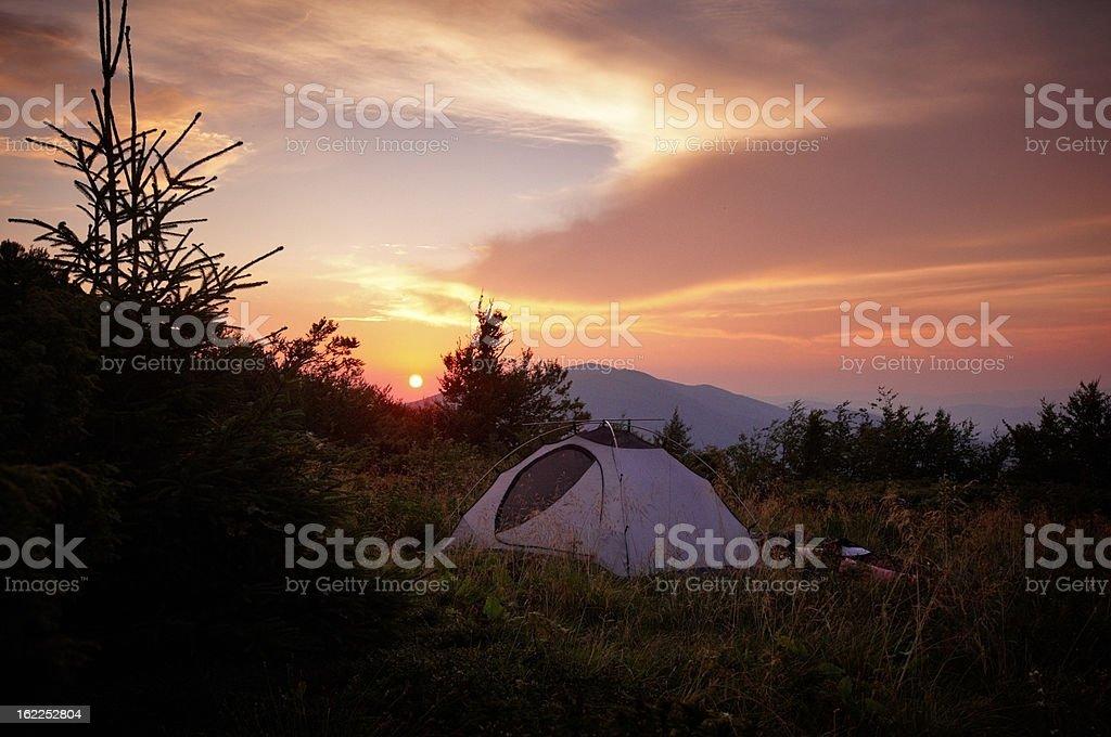 tent in mountains royalty-free stock photo