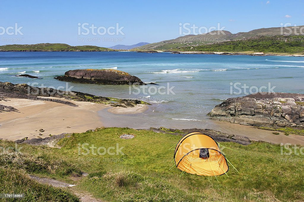Tent in Ring of Kerry coast royalty-free stock photo