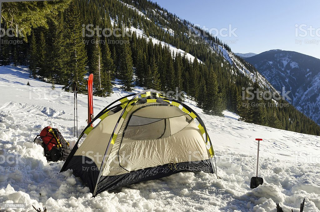 Tent in Snow royalty-free stock photo