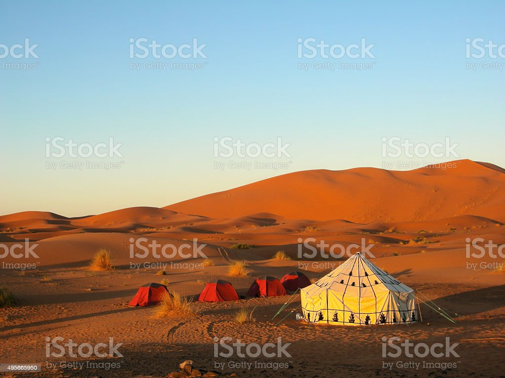 Tent in the desert stock photo