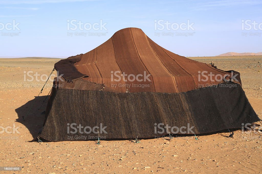 Tent in the middle of a desert stock photo