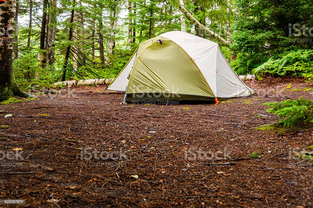 Tent in Wilderness stock photo
