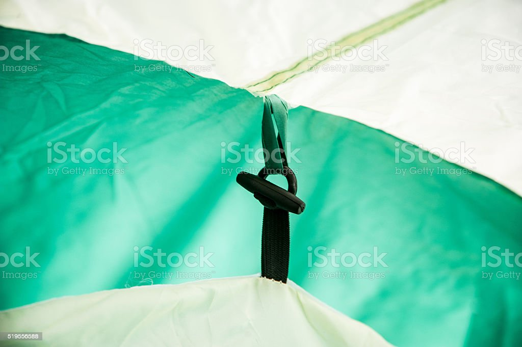 Tent inside view - fastening roof stock photo