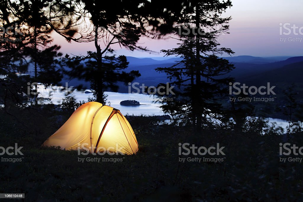 tent lit up at dusk royalty-free stock photo