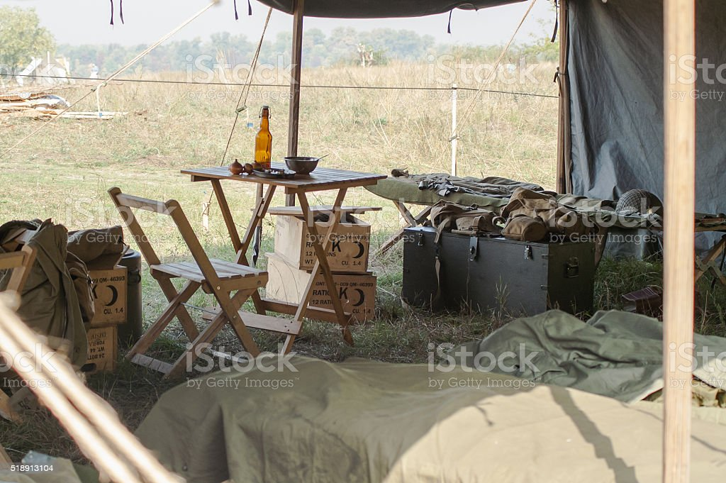 Tent military camp of the WWII stock photo