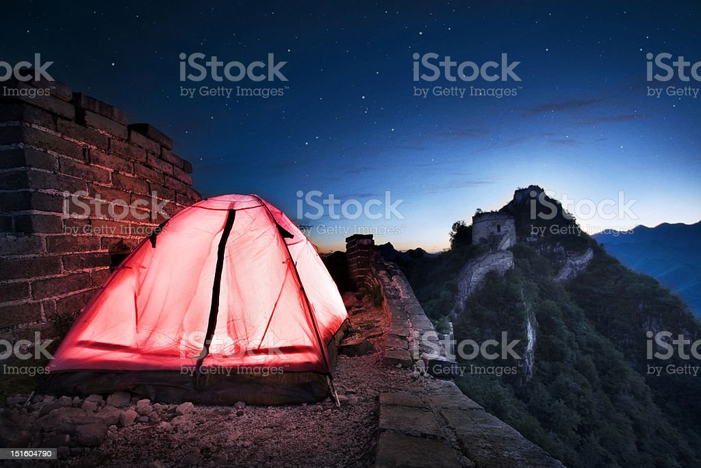 Tent on Great Wall of China stock photo