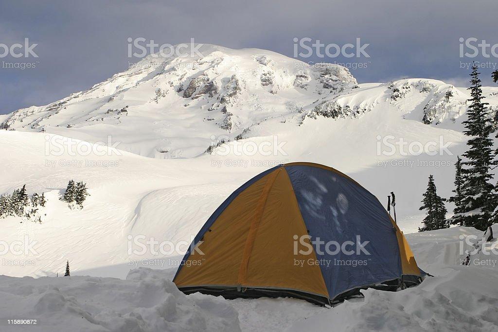 Tent on Mount Rainier royalty-free stock photo