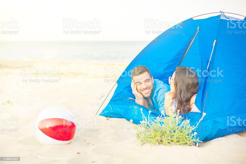 Tent on the beach stock photo