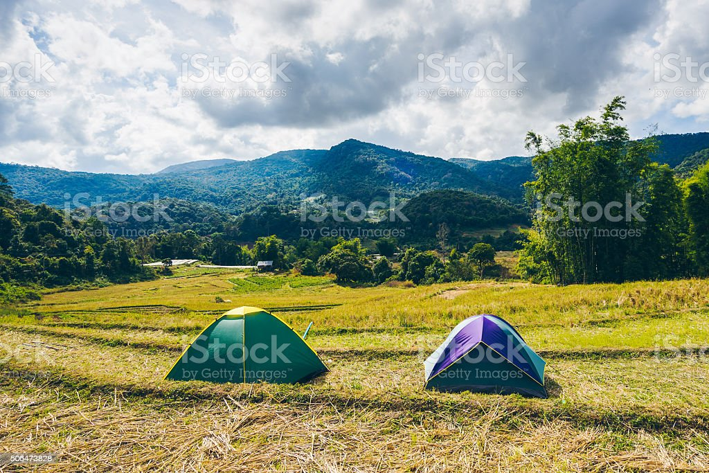 Tent on the farnland stock photo